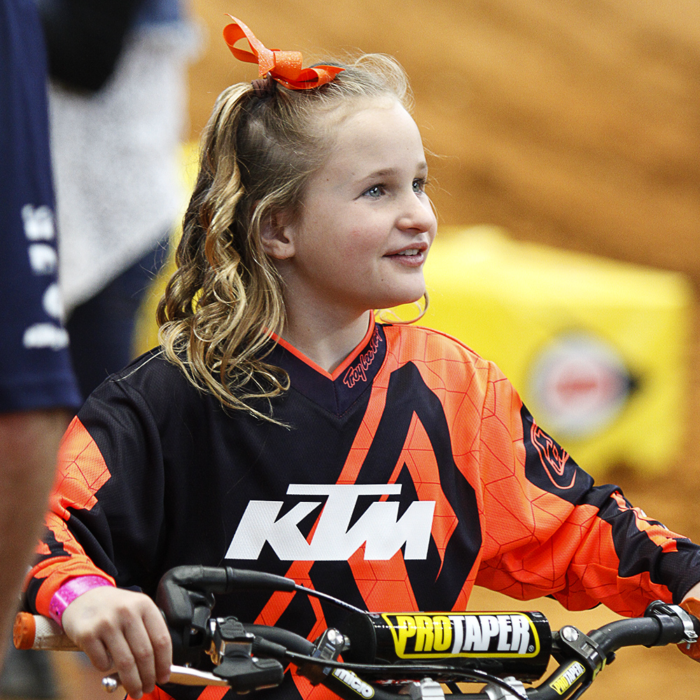 Eight year old Hayliegh Smith gives interviews on medis day at the Supercross competition at AT&T Stadium; Arlington TX; February 10, 2017; (Photo:Russ Rendon - The Arlington Voice)